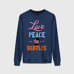 Свитшот хлопковый женский Love peace the Beatles цвета тёмно-синий — фото 1