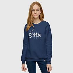 Свитшот хлопковый женский Real Sinner цвета тёмно-синий — фото 2