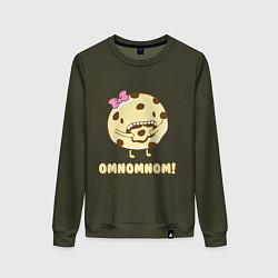 Свитшот хлопковый женский Cake: Omnomnom! цвета хаки — фото 1