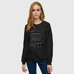 Свитшот хлопковый женский Young free happy цвета черный — фото 2