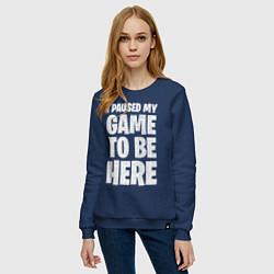 Свитшот хлопковый женский PUBG: I Paused My Game цвета тёмно-синий — фото 2