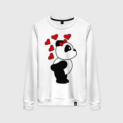 Свитшот хлопковый женский Поцелуй панды: для нее цвета белый — фото 1