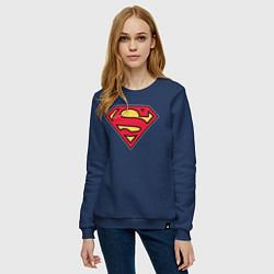 Свитшот хлопковый женский Superman logo цвета тёмно-синий — фото 2