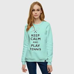 Свитшот хлопковый женский Keep Calm & Play tennis цвета мятный — фото 2