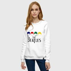 Свитшот хлопковый женский The Beatles Heads цвета белый — фото 2