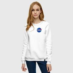 Свитшот хлопковый женский NASA цвета белый — фото 2