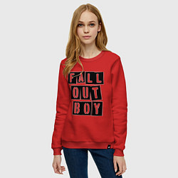Свитшот хлопковый женский Fall Out Boy: Words цвета красный — фото 2