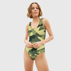 Купальник-боди 3D женский Камуфляж: зеленый/хаки цвета 3D — фото 2