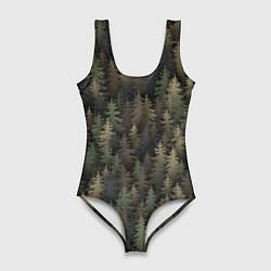 Купальник-боди 3D женский Лесной камуфляж цвета 3D — фото 1
