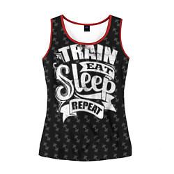 Майка-безрукавка женская Train Eat Sleep Repeat цвета 3D-красный — фото 1