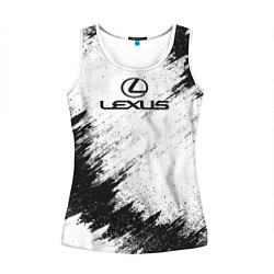 Майка-безрукавка женская Lexus: Black Breaks цвета 3D-белый — фото 1