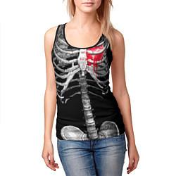 Майка-безрукавка женская Скелет с сердцем цвета 3D-черный — фото 2