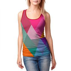 Майка-безрукавка женская Разноцветные полигоны цвета 3D-красный — фото 2