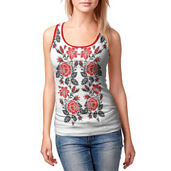 Майка-безрукавка женская Вышивка 28 цвета 3D-красный — фото 2
