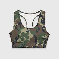 Топик спортивный женский Камуфляж: хаки/зеленый цвета 3D — фото 1