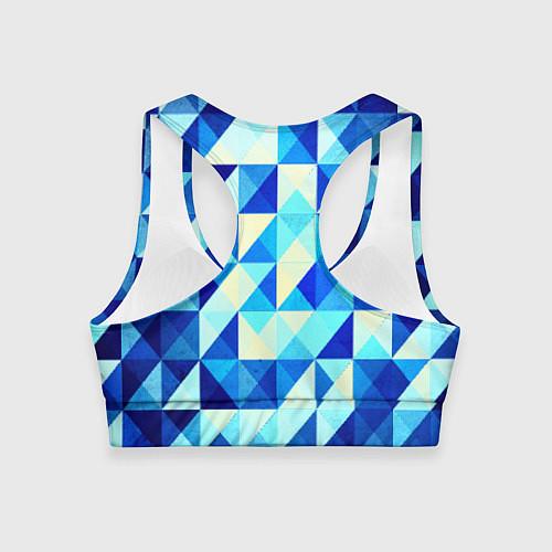 Женский спортивный топ Синяя геометрия / 3D – фото 2