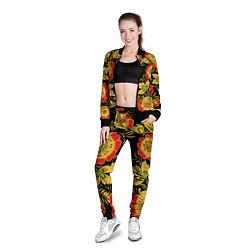 Олимпийка женская Хохлома цвета 3D-черный — фото 2