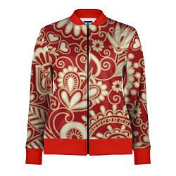 Олимпийка женская Хохломская роспись цвета 3D-красный — фото 1
