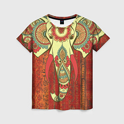 Футболка женская Индийский слон цвета 3D — фото 1