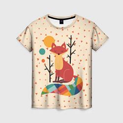 Футболка женская Осенняя лисичка цвета 3D — фото 1