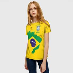 Футболка женская Сборная Бразилии: желтая цвета 3D-принт — фото 2