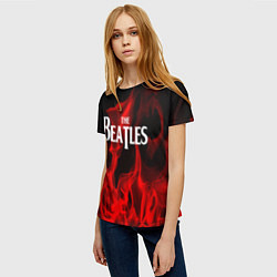 Футболка женская The Beatles: Red Flame цвета 3D-принт — фото 2