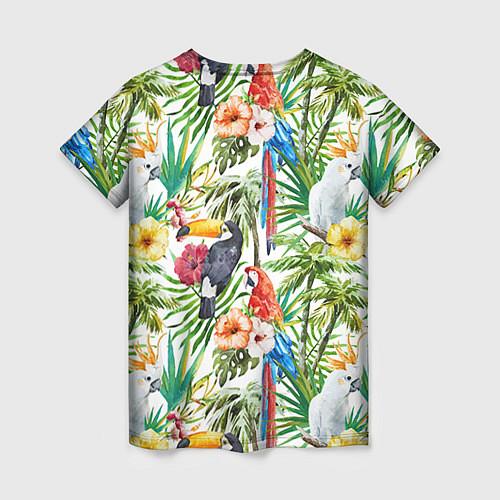 Женская футболка Попугаи в тропиках / 3D – фото 2