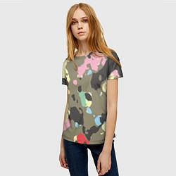 Женская 3D-футболка с принтом Камуфляж: микс цветов, цвет: 3D, артикул: 10071668003229 — фото 2
