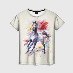 Футболка женская Лошадь: акварель цвета 3D — фото 1
