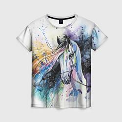 Футболка женская Акварельная лошадь цвета 3D-принт — фото 1