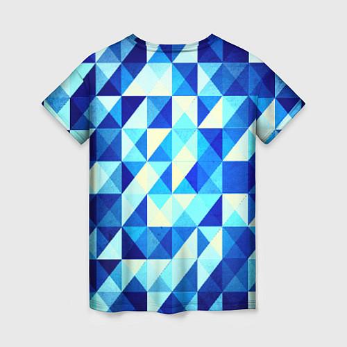 Женская футболка Синяя геометрия / 3D – фото 2