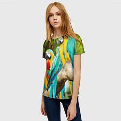 Женская 3D-футболка с принтом Попугаи на ветке, цвет: 3D, артикул: 10095842603229 — фото 2