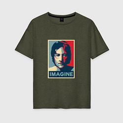 Футболка оверсайз женская Lennon Imagine цвета меланж-хаки — фото 1