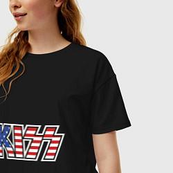 Футболка оверсайз женская KIss USA цвета черный — фото 2