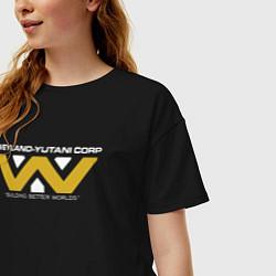 Футболка оверсайз женская Weyland-Yutani цвета черный — фото 2