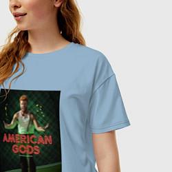Футболка оверсайз женская American Gods: Mad Sweeney цвета мягкое небо — фото 2