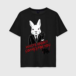 Футболка оверсайз женская Misfits: White rabbit цвета черный — фото 1