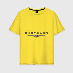 Футболка оверсайз женская Chrysler logo цвета желтый — фото 1