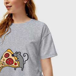 Футболка оверсайз женская Кусочек пиццы парная цвета меланж — фото 2