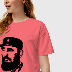 Футболка оверсайз женская Fidel Castro цвета коралловый — фото 2