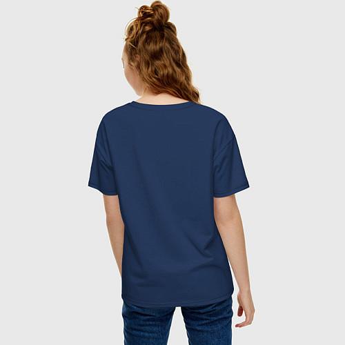 Женская футболка оверсайз Подруги навеки / Тёмно-синий – фото 4