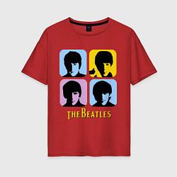 Футболка оверсайз женская The Beatles: pop-art цвета красный — фото 1