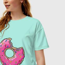 Футболка оверсайз женская Пончик Гомера цвета мятный — фото 2