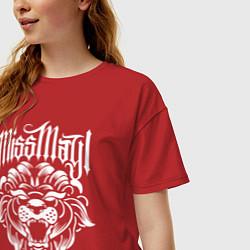 Футболка оверсайз женская Miss May I: Angry Lion цвета красный — фото 2