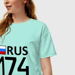 Футболка оверсайз женская RUS 174 цвета мятный — фото 2
