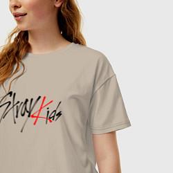 Футболка оверсайз женская STRAY KIDS FELIX цвета миндальный — фото 2