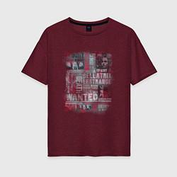 Футболка оверсайз женская Гарри Поттер цвета меланж-бордовый — фото 1