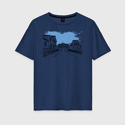 Футболка оверсайз женская Азиатская улица цвета тёмно-синий — фото 1