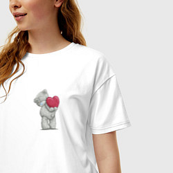 Футболка оверсайз женская Мишка Тедди цвета белый — фото 2
