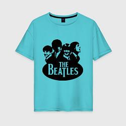 Футболка оверсайз женская The Beatles Band цвета бирюзовый — фото 1